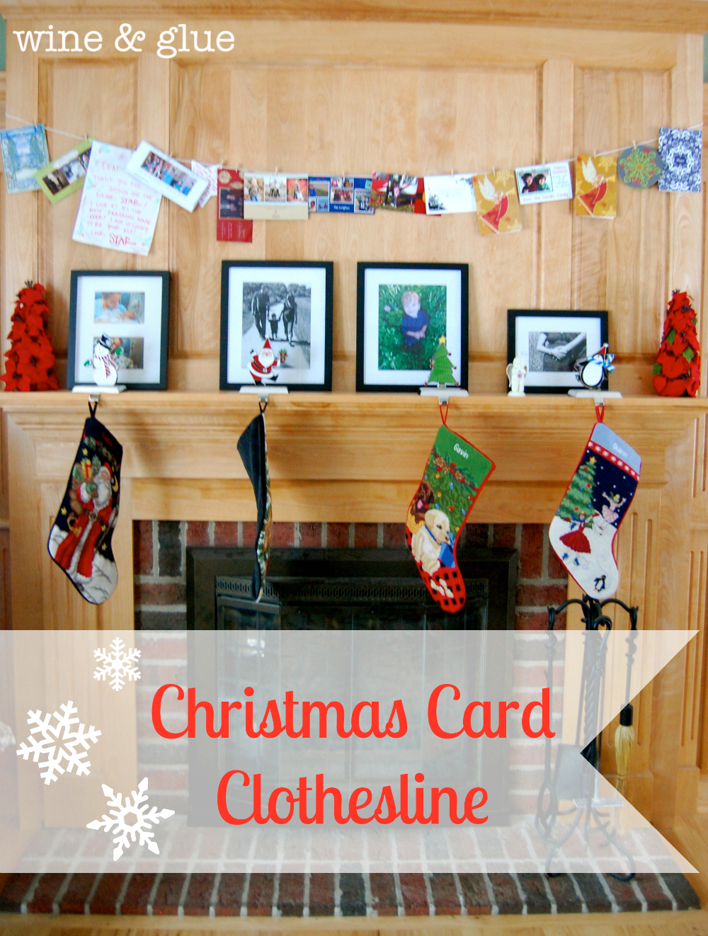 Christmas Card Clothesline Wine Glue