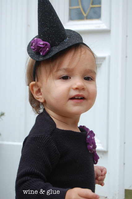 Cute Little Witch Costume:  Tutorial for dress and witch hat! via www.wineandglue.com
