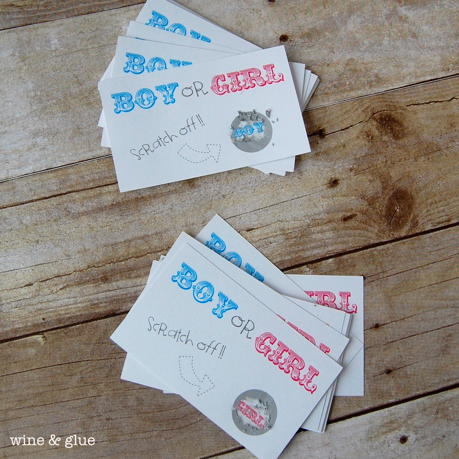 Gender Reveal Scratch Offs from Wine & Glue #gender #reveal #scratch #off